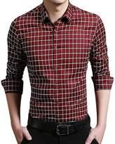 QZUnique Men's Big & Tall Plaid Pattern Slim Fit Long Sleeve Cotton Dress Shirt Red-2 4XL