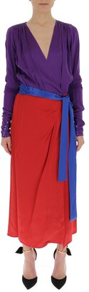 ATTICO Contrast Wrapped Belt Dress