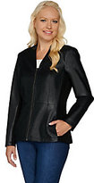 Denim & Co. Zip Front Faux Leather and Ponte Knit Jacket