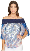Hale Bob Beautiful Creatures Rayon Satin Off the Shoulder Top Women's Clothing