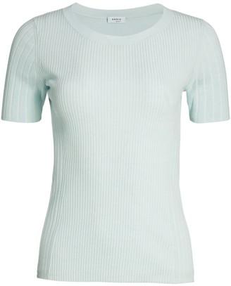 Akris Punto Ribbed Short-Sleeve Wool Sweater