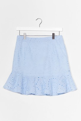 Nasty Gal Womens Sew Good to You Broderie Anglaise Mini Skirt - Blue - L