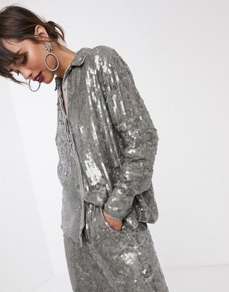 Asos Edition EDITION sequin shirt-Grey
