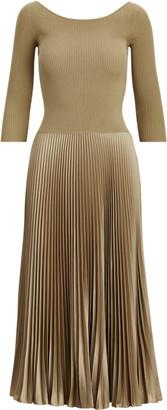 Ralph Lauren Ribbed Boatneck Midi Dress