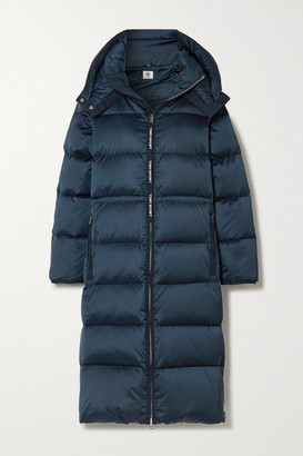 Tory Sport Hooded Quilted Shell Down Coat - Navy