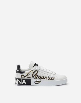 Dolce & Gabbana Nappa Calfskin Portofino Sneakers With Eleganza Print