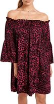 Hush Bryony Leopard Dress, Burgundy
