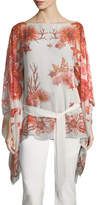 Roberto Cavalli Bateau-Neck Tie-Waist Printed Caftan Silk Blouse