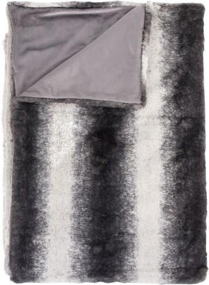 Luxe Faux Fur Irving Striped Faux Fur Throw