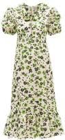 Shrimps Oakley Floral-print Shirred-seersucker Midi Dress - Womens - Multi