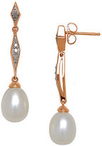 Lord & Taylor 9MM Freshwater Pearl, Diamond and 14K White Gold Linear Drop Earrings
