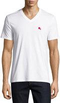 Burberry Lindon Cotton V-Neck T-Shirt, White