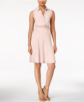 NY Collection Sleeveless Utility Shirtdress, Only at Macy's