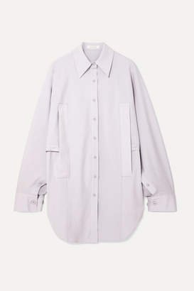 Low Classic Convertible Draped Woven Shirt - Lilac