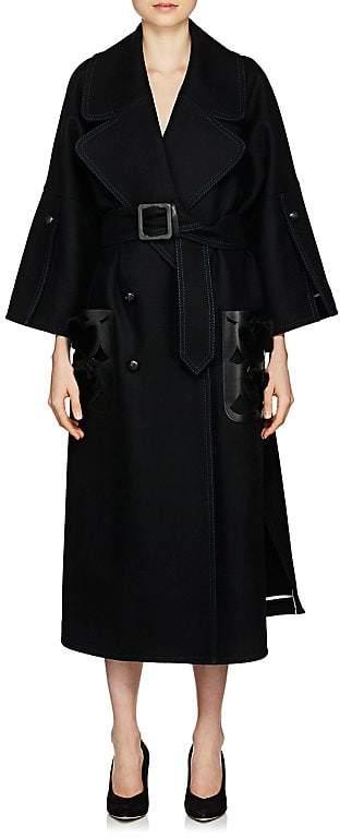 Fendi Women's Fur- & Leather-Trimmed Wool Coat
