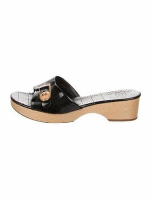 Chanel Leather Lasercut Accents Slides Black