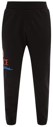 Versace Logo-print Cotton-jersey Track Pants - Mens - Black