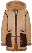 Acne Studios Lorin Hooded Leather And Shearling-trimmed Suede Coat - Camel