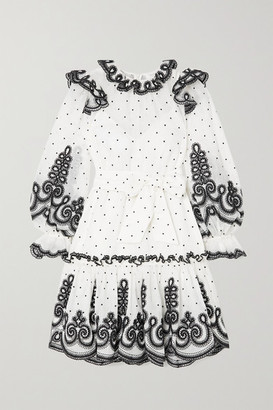Zimmermann The Lovestruck Rope Embroidered Linen And Silk-blend Organza Mini Dress - White