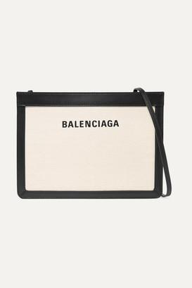 Balenciaga Leather-trimmed Canvas Shoulder Bag - White