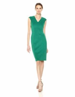 Calvin Klein Women's Cap Sleeve V Neck Sheath with Seam Detail Dress