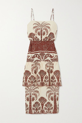 Johanna Ortiz Journey Legacy Tiered Printed Linen Midi Dress - Ivory