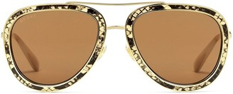 Gucci Snakeskin-Print Aviator-Frame Sunglasses