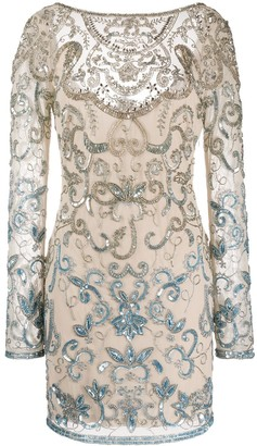 Just Cavalli Sequin Embroidered Fitted Dress