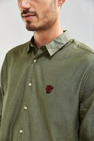 Urban Outfitters Embroidered Dobby Ticking Button-Down Shirt