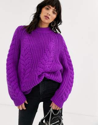 Asos Design DESIGN premium oversized cable jumper-Purple