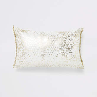 River Island White and gold sequin rectangle cushion