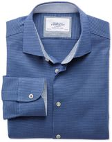 Charles Tyrwhitt Extra Slim Fit Semi-Spread Collar Business Casual Textured Royal Blue Cotton Dress Casual Shirt Single Cuff Size 15.5/35