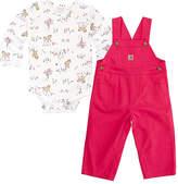 Carhartt White Horse Bodysuit & Peacock Pink Ripstop Overalls - Infant