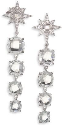 Anzie Aztec Starburst White Topaz, White Sapphire & Sterling Silver Drop Earrings
