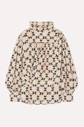 Isabel Marant Brandi Printed Stretch-silk Crepe De Chine Blouse - Ecru