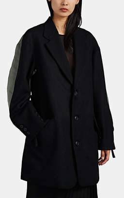 Yohji Yamamoto Regulation Women's Wool & Tech-Twill Patchwork Jacket - Black Pat.