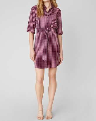 Express Bb Dakota Gingham Print Belted Mini Dress