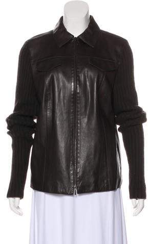 Akris Pointed-Collar Leather Jacket