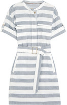 Burberry Belted Striped Cotton Shirt Dress - Navy