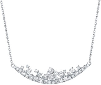 Lab Grown Diamond Smile Curved Necklace, 3/4 Ctw 10K Solid Gold by Smiling Rocks