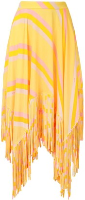 MSGM High-Waisted Fringed Skirt