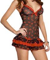 Frawirshau Women Lace Hollow lingerie Sexy Sheer Babydoll Sleepwear Nightwear Set 6207-Red 2XL