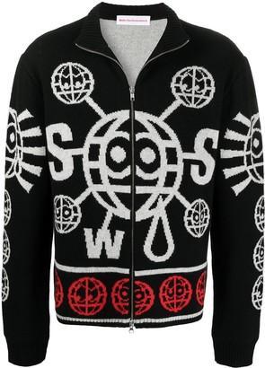 Walter Van Beirendonck Pre-Owned Globe zip knit jacket