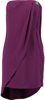 Halston Embellished draped crepe mini dress