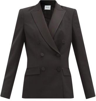Pallas Paris Haviland Double-breasted Satin-lapel Wool Jacket - Black