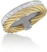 Alor Micro-Cable Pave Diamond Double-Band Ring,Yellow, Size 6.5