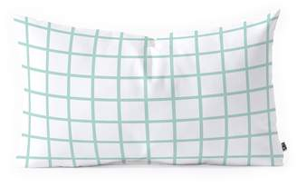 Deny Designs Little Arrow Design Co Mint Grid Oblong Throw Pillow
