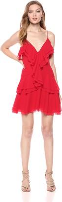 C/Meo Women's Elude Ruffle Detail V Neck Sleeveless Mini Dress