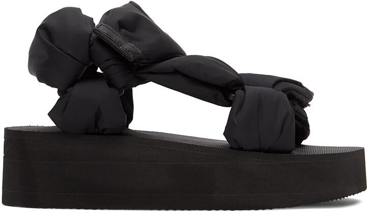 RED Valentino Black Nylon Puffy Platform Sandals