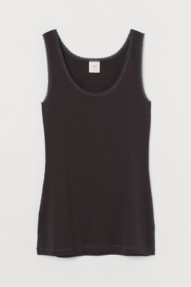 H&M Lace-trimmed Tank Top - Gray